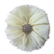 8cm Frayed Diamante CREAM Fabric Flower Applique